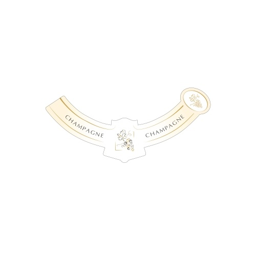Collerette avec un fond blanc et crème non-adhésive pour bouteille de Champagne
