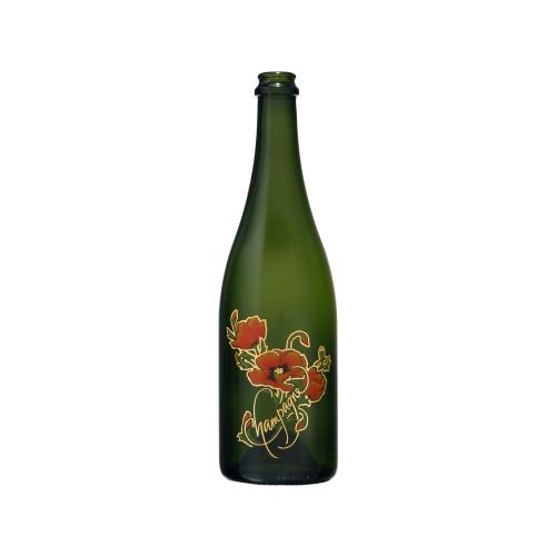 Bouteille verte de Champagne avec un décor de coquelicots en sérigraphie