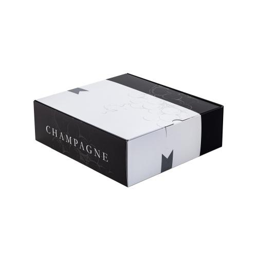 Coffret 3 bouteilles de Champagne noir et blanc avec raisin en tramé