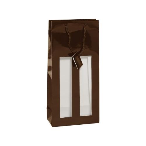 Sac couleur chocolat avec 2 fenêtres transparentes pour 2 bouteilles de Champagne