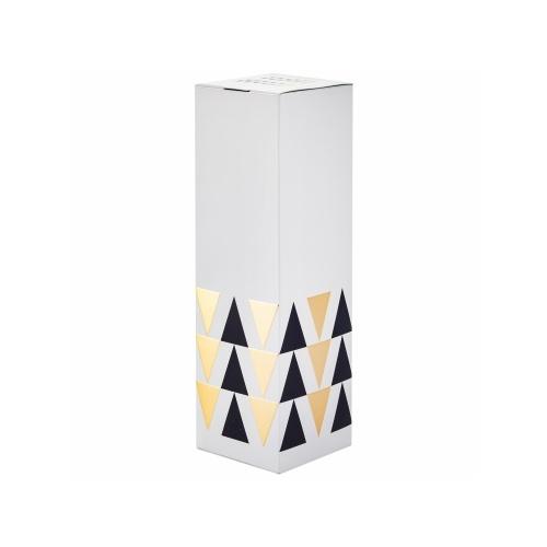 étui noir bouteille de champagne blanc avec des triangles noir et or