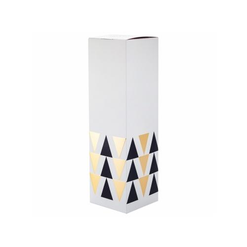 étui noir pour magnum de champagne blanc avec des triangles noir et or