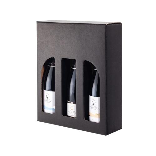 étui noir pour 3 bouteilles de champagne avec poignée et fenêtres