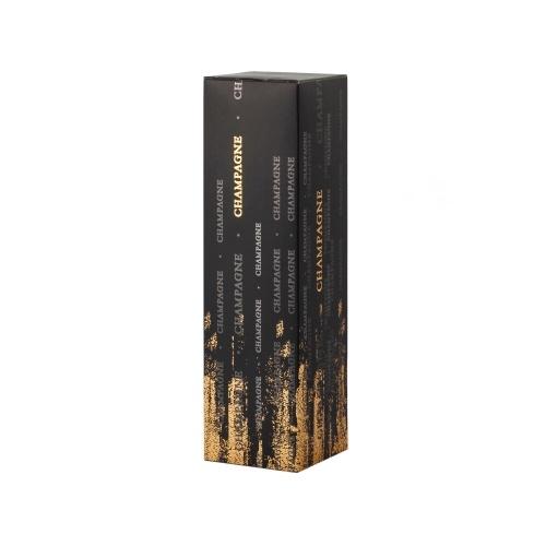 étui noir 1 bouteille de champagne avec des détails en or
