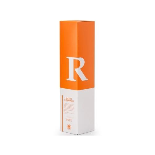 Étui blanc et orange pour bouteille spéciale de Ratafia