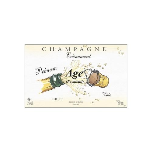 Étiquette avec un décor d'un bouchon de Champagne qui explose