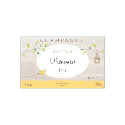 Étiquette avec un décor frais et naturel pour personnaliser une bouteille de Champagne