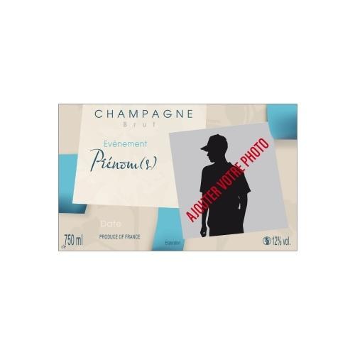 Étiquette de champagne avec un décor de carrés couleurs taupe et bleu