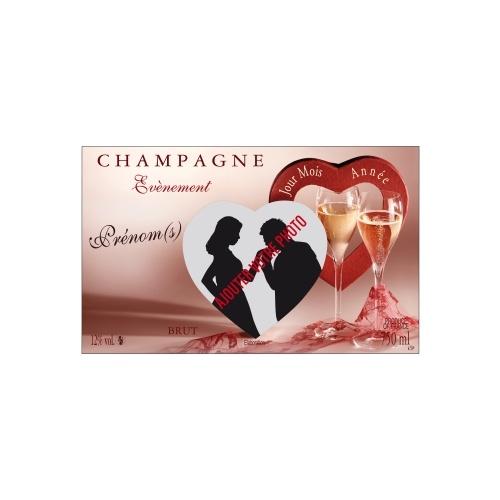 Étiquette non-adhésive pour bouteille sur le thème du mariage