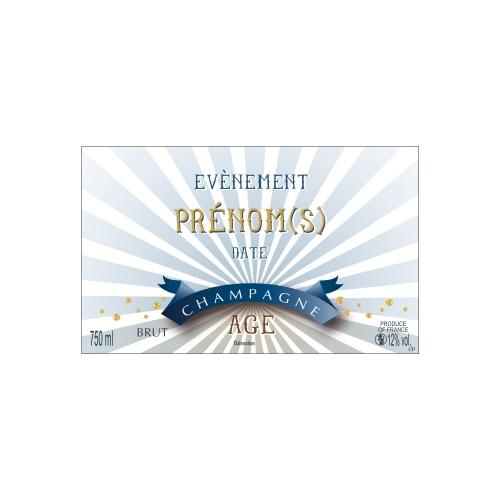 Étiquette avec un décor rayé blanc et bleu pour personnaliser une bouteille de Champagne
