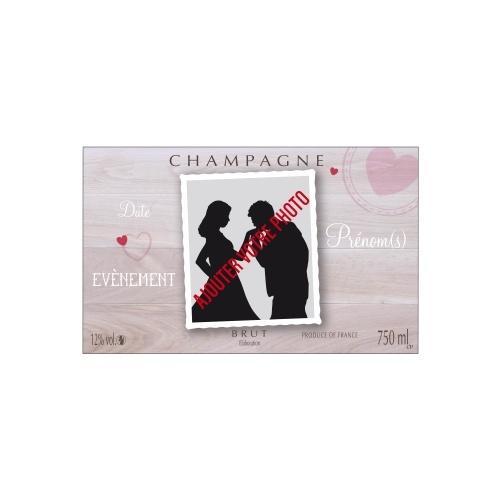 Étiquette non-adhésive de Champagne pour un mariage