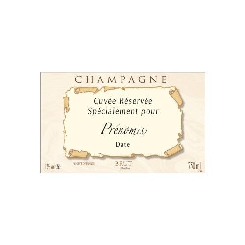 Étiquette de Champagne non-adhésive imitation parchemin