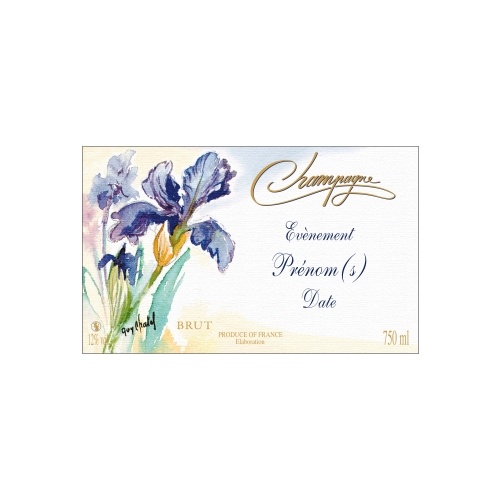 Étiquette de Champagne avec le dessin d'une iris