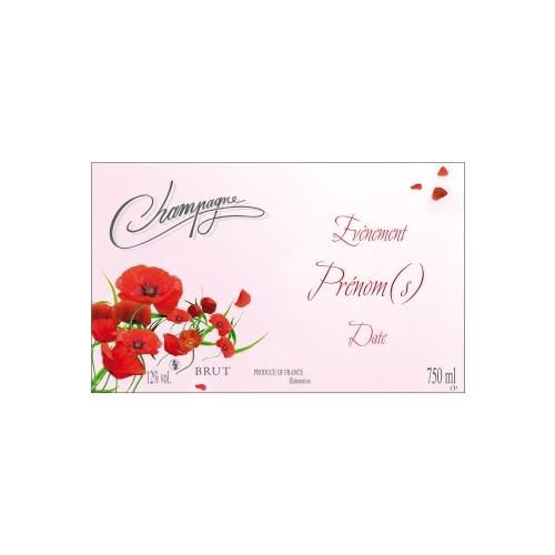 Étiquette de Champagne non-autocollante avec un fond rose et des coquelicots