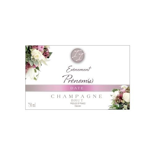 Étiquette de Champagne blanche avec un décor de fleurs