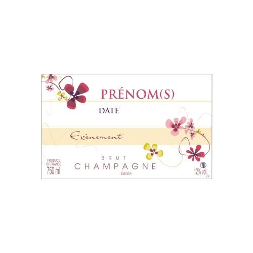 Étiquette blanche et crème de Champagne non-autocollante avec des dessins de fleurs