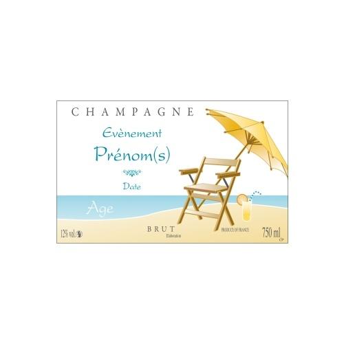 Étiquette de Champagne avec un décor relaxant pour personnaliser une bouteille