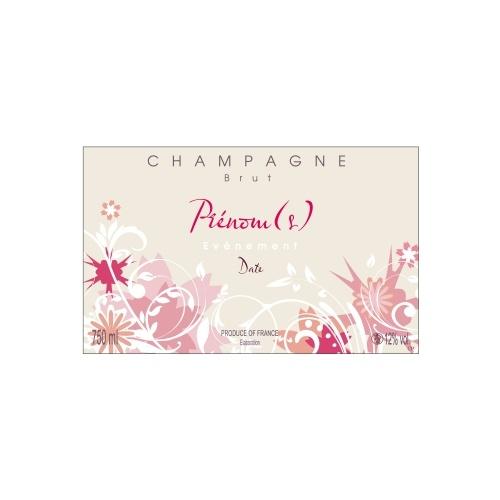 Étiquette beige de Champagne non-autocollante avec des dessins de fleurs roses