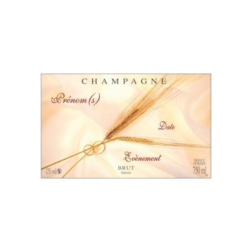 Étiquette de Champagne avec des brins de blé