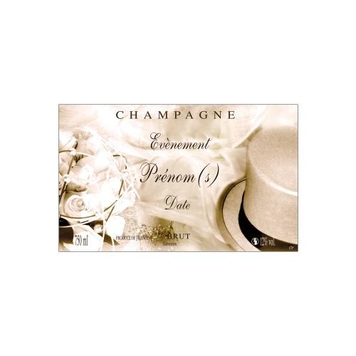 Étiquette de Champagne avec un décor de mariage