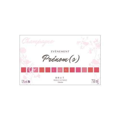 Étiquette de Champagne blanche et rose pour personnaliser une bouteille