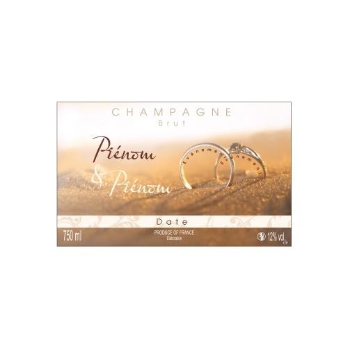 Étiquette pour Champagne non-adhésive pour un mariage