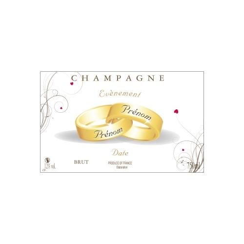 Étiquette pour Champagne non-adhésive avec des alliances pour fêter un mariage