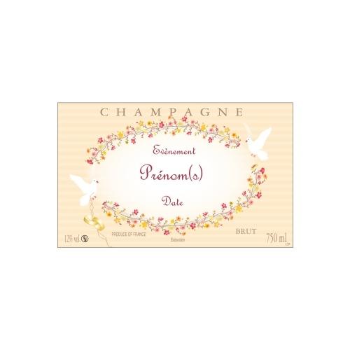 Étiquette de Champagne avec un décor de fleurs et de colombes idéal pour fêter un mariage