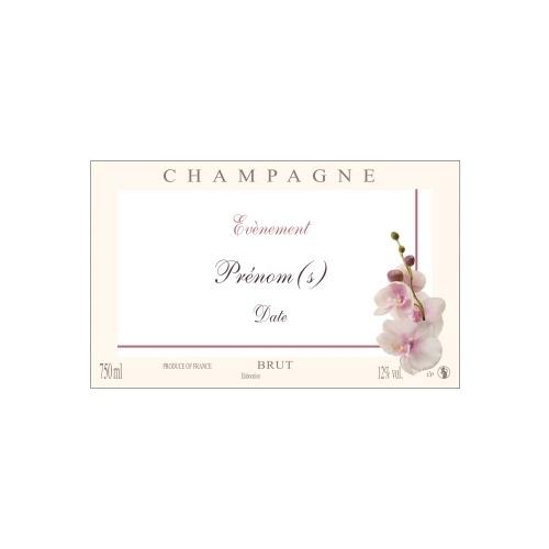 Étiquette crème et blanche de Champagne non-autocollante avec une branche d'orchidée