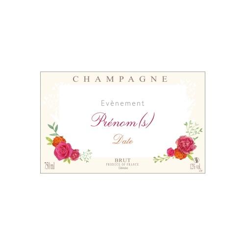 Étiquette crème avec un décor de fleurs pour une bouteille de Champagne