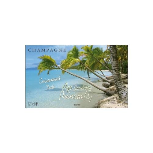 Étiquette de Champagne avec un décor de tropique pour fêter les vacances