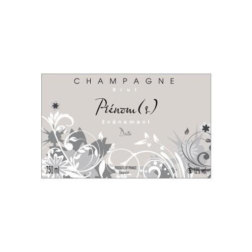 Étiquette beige de Champagne non-autocollante avec des dessins de fleurs grises