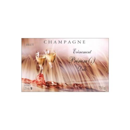Étiquette de Champagne avec un décor festif