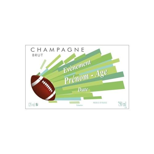 Étiquette de Champagne blanche et verte avec un ballon de rugby