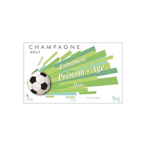 Étiquette de Champagne blanche et verte avec un ballon de football