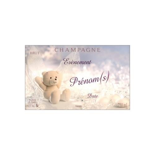 Étiquette aux couleurs froides et douces avec une peluche d'ours blanc pour annoncer une naissance