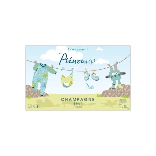 Étiquette avec un décor bleu et vert et des éléments d'enfants annoncer une naissance