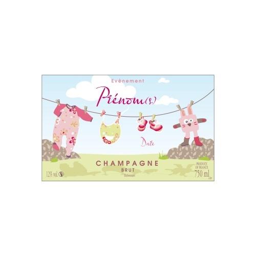 Étiquette avec un décor rose et vert et des éléments d'enfants annoncer une naissance