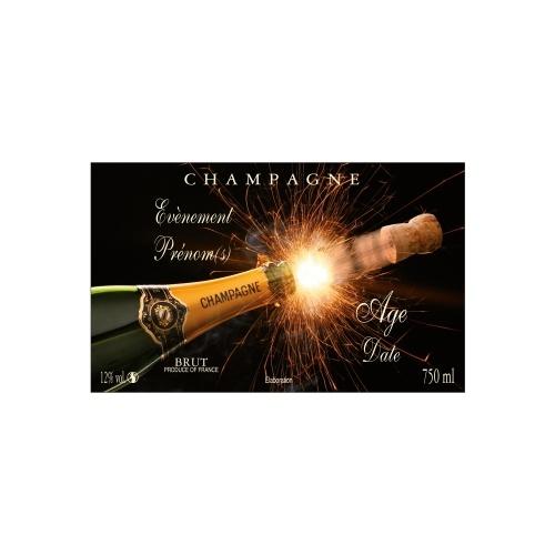 Étiquette de Champagne non-autocollante noire avec la photo d'une ouverture de bouteille