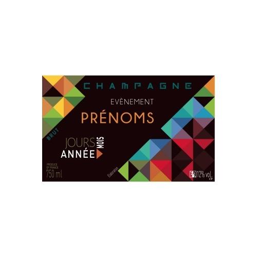 Étiquette de Champagne non-autocollante noire avec des formes géométriques colorées