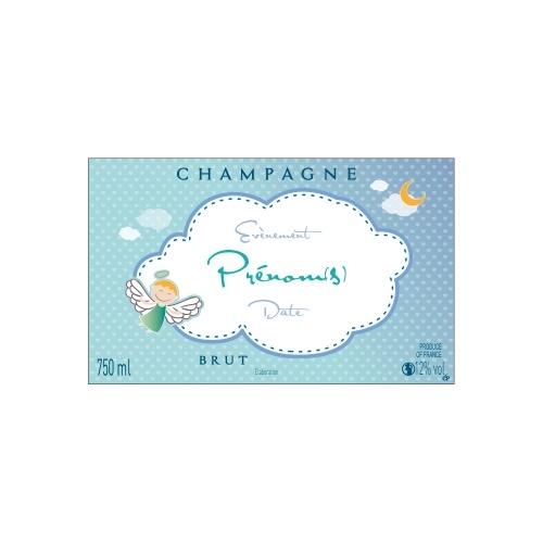 Étiquette avec un nuage blanc sur fond bleu avec un petit ange pour annoncer une naissance