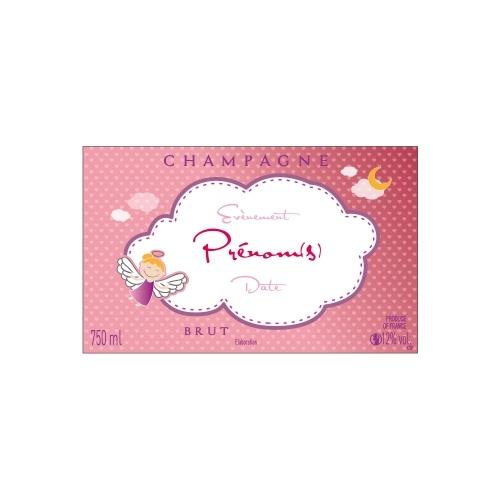 Étiquette avec un nuage blanc sur fond rose avec un petit ange pour annoncer une naissance