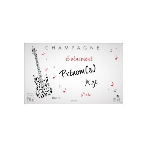 Étiquette de Champagne non-adhésive sur le thème de la musique