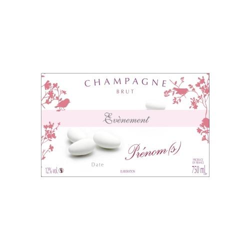 Étiquette blanche et rose avec des éléments graphiques et des dragées pour annoncer une naissance