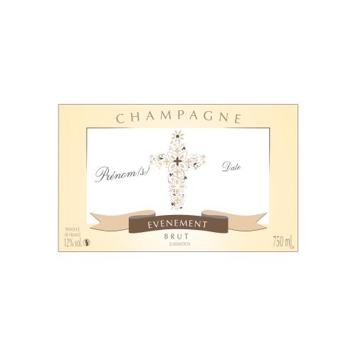 Étiquette de Champagne avec un contour crème et une croix pour fêter une communion