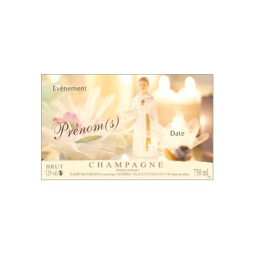 Étiquette de Champagne non-adhésive pour célébrer une communion