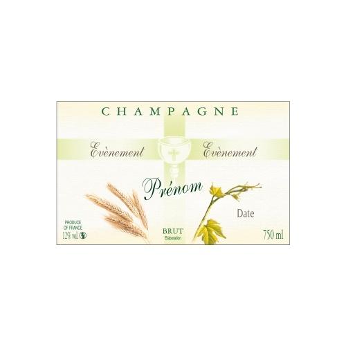 Étiquette de Champagne non-adhésive verte pâle pour célébrer une communion