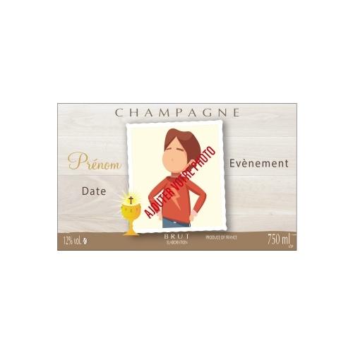 Étiquette de Champagne avec un fond brun possibilité de mettre un photo