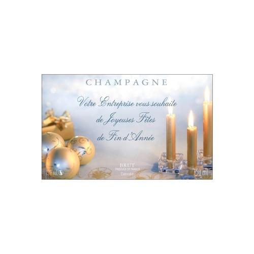Étiquette de Champagne avec un décor de noël pour fêter la fin d'année