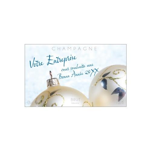 Étiquette de Champagne avec des boules de noël pour fêter la fin d'année